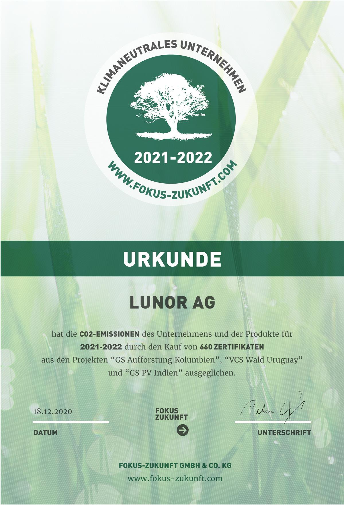 Klimaneutral Zertifikat klimaschutz Lunor